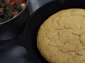 Skillet Cornbread with Chili Beans