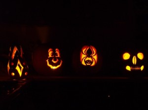 Pumpkins glowing in the kitchen