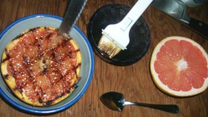 Grilled Pink Grapefruit with Tamari Maple Glaze