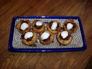 Latke Tots with apple butter and sour cream