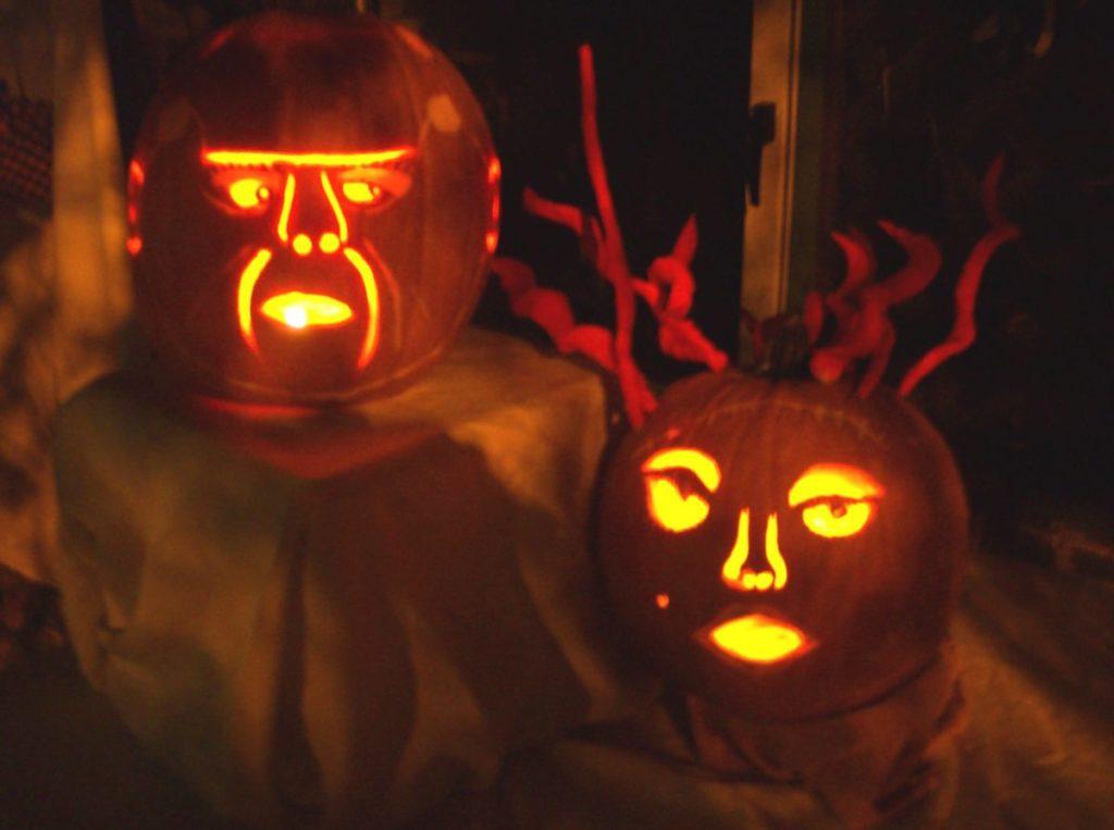 Frank & Bride pumpkins lit
