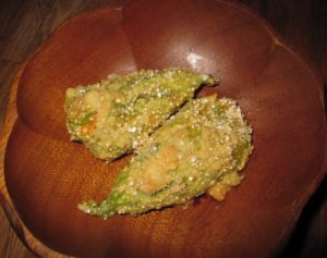Squash Blossoms baked golden brown and delicious