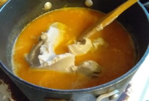 Chestnut puree going into butternut squash soup